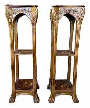 A Pair of Art Nouveau Pedestals