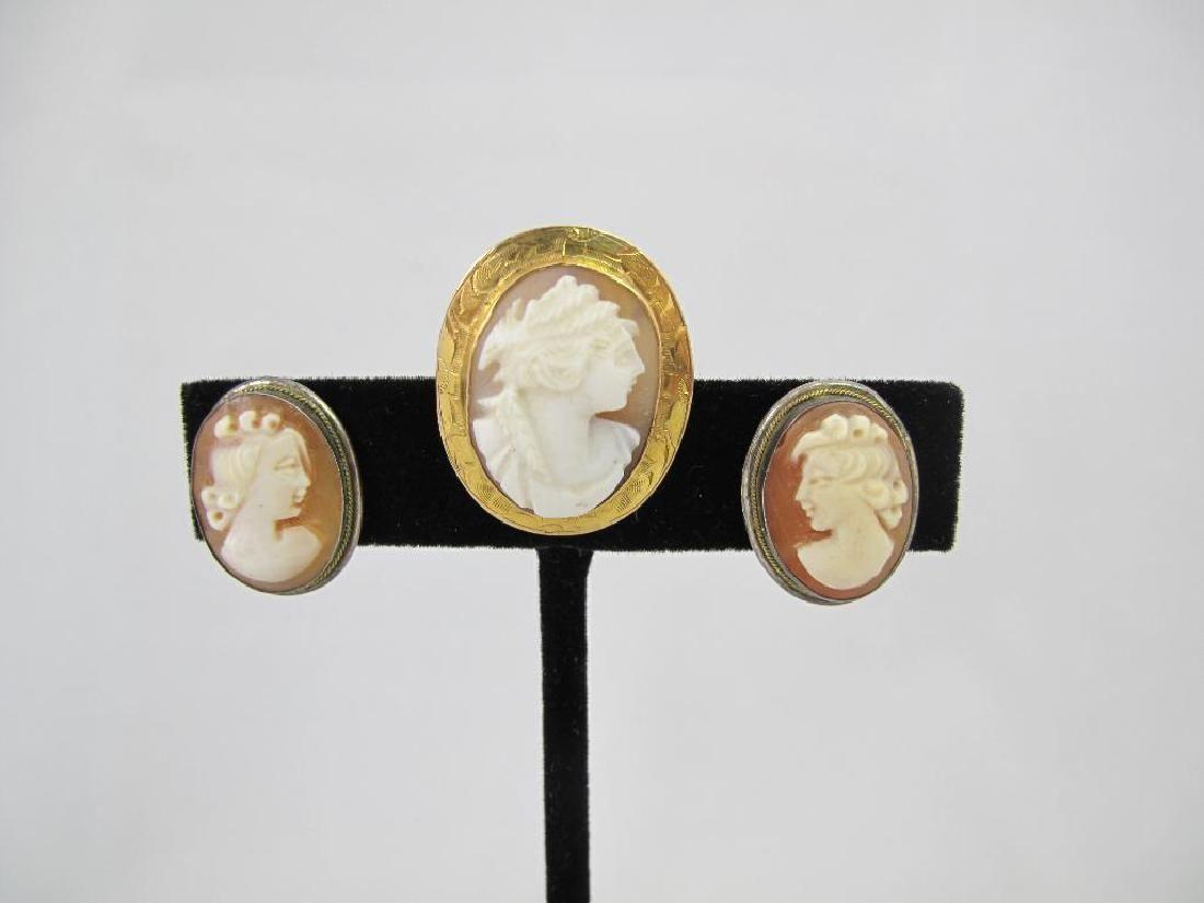 Three piece 14kyg Natural Shell Cameo Brooch & Earrings