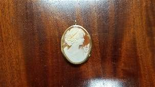 14K Gold Cameo Brooch Pendant
