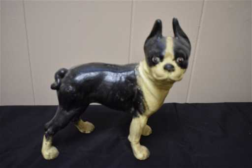 Cast Iron Boxer Dog Door Stop Bank
