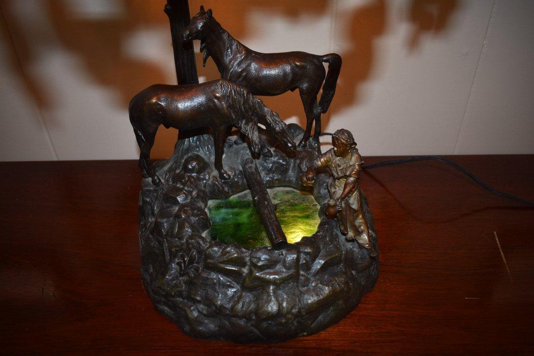 Vintage Metal Lamp with Horses - 2