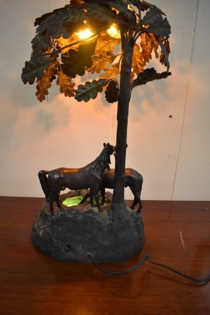 Vintage Metal Lamp with Horses - 5
