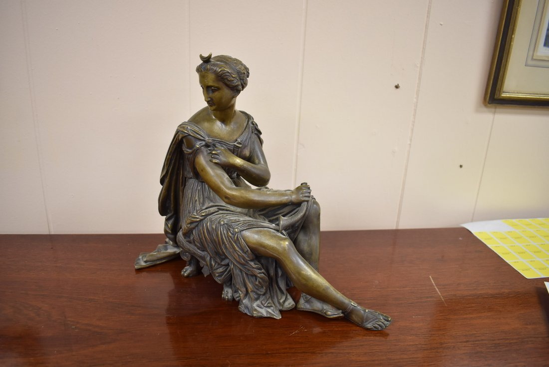 Bronze Statue Woman on Bench