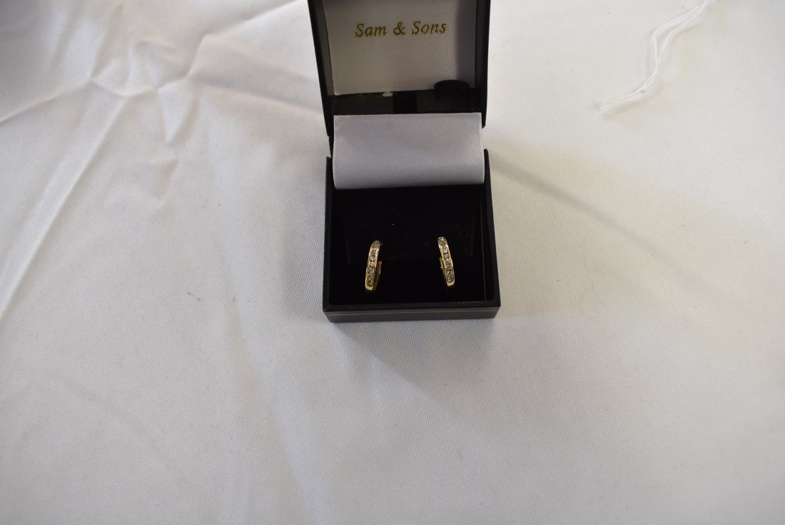 14K Yellow Gold and Diamond Hoop Earrings