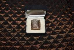 Large 14K Gold and Pave Diamond Ring