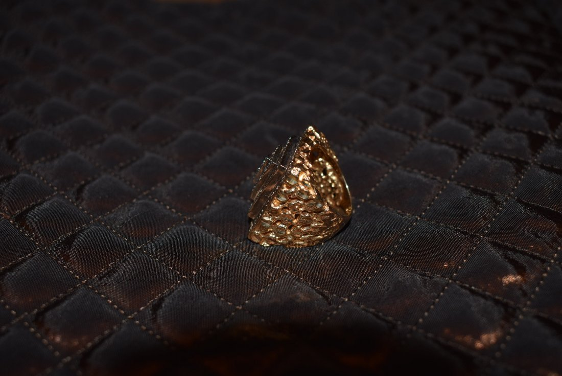 Large 14K Gold and Pave Diamond Ring - 3