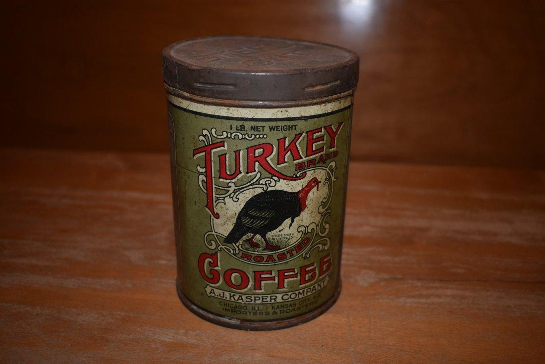 RARE A.J. Kasper Turkey Coffee Tin
