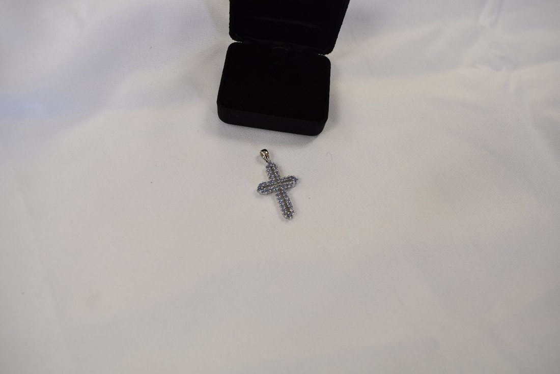 14K White Gold and Purple Stone Cross Pendant