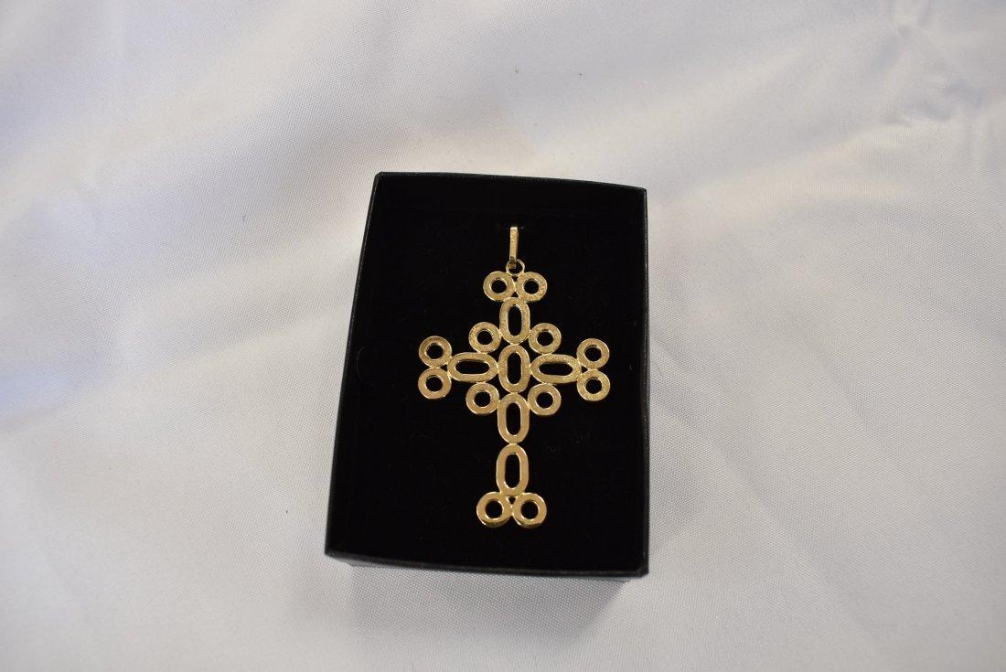 Large 14K Gold Cross Pendant - 2