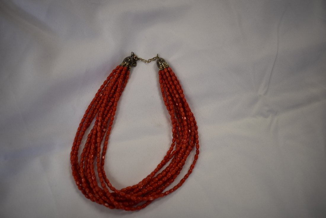 Sterling Silver and Coral Beads Necklace