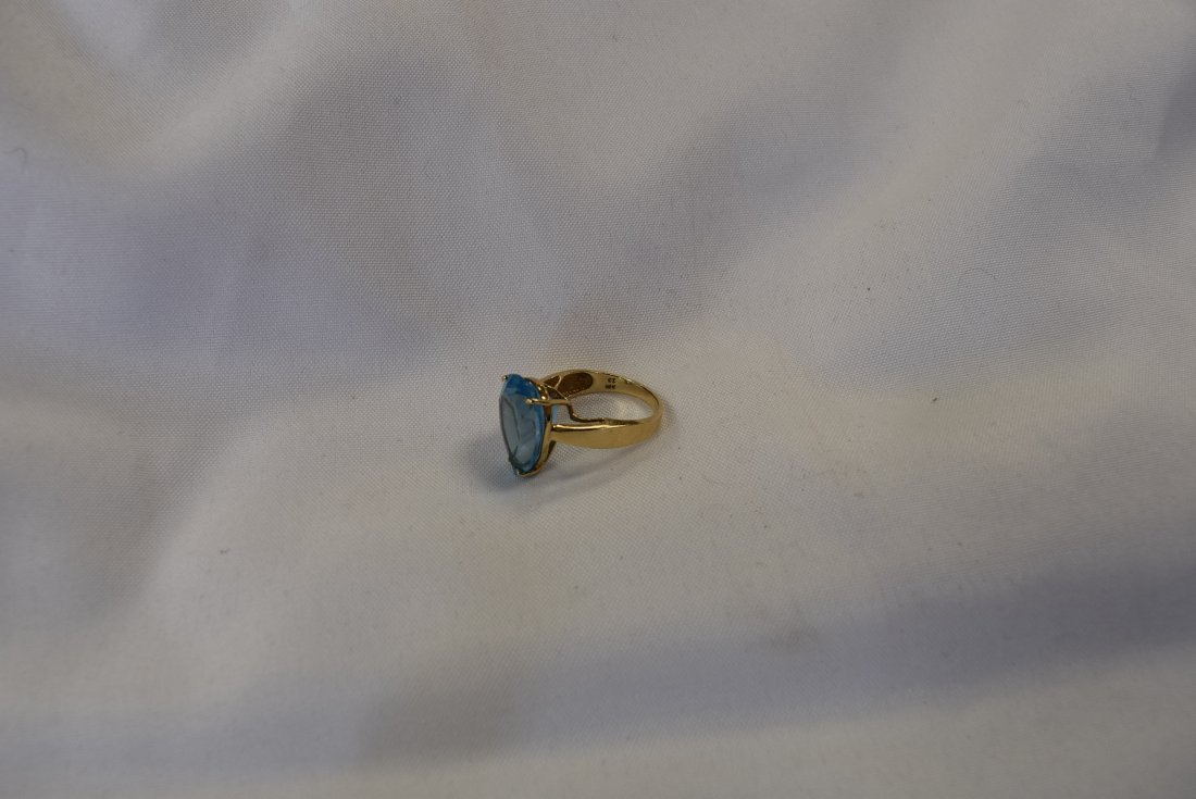 10K Gold and Blue Stone Ring - 3