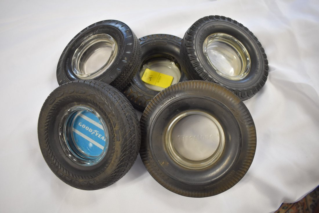 Lot of 5 Vintage Advertising Tire Ashtrays