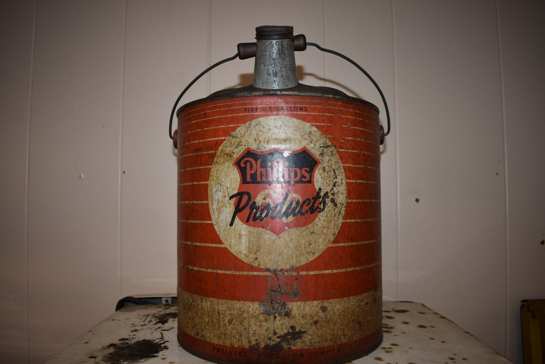 Vintage Phillips 5 Gal Oil Can