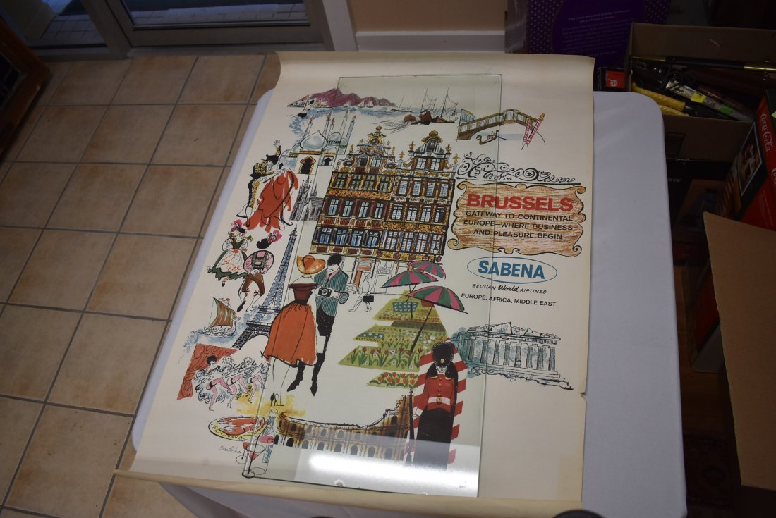 Vintage Sabena Air Brussels Travel Poster