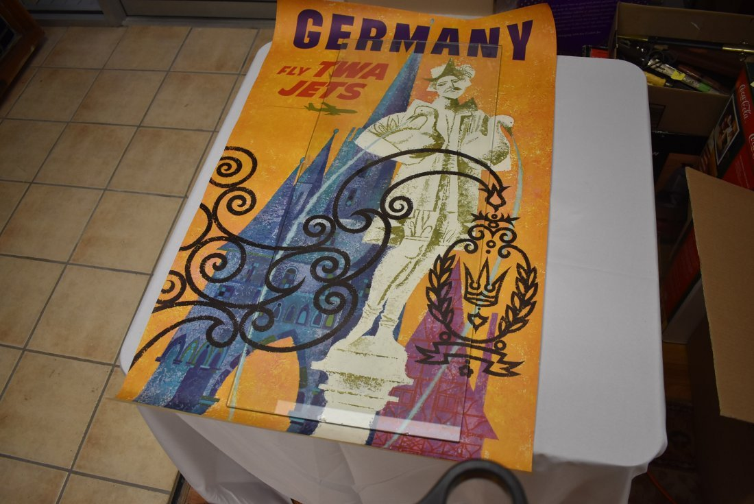 Vintage TWA Airlines Germany Travel Poster David Klein