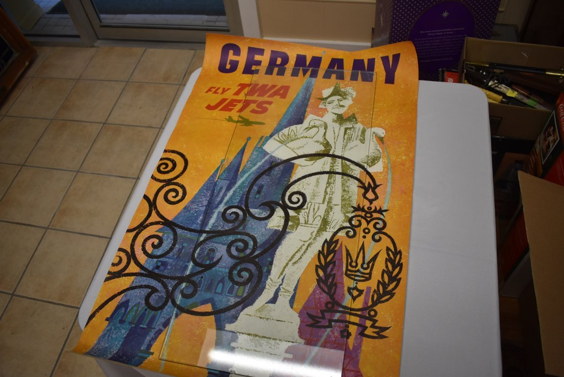 Vintage TWA Airlines Germany Travel Poster David Klein - 2