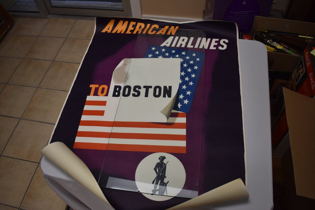 Vintage American Airlines Boston Travel Poster
