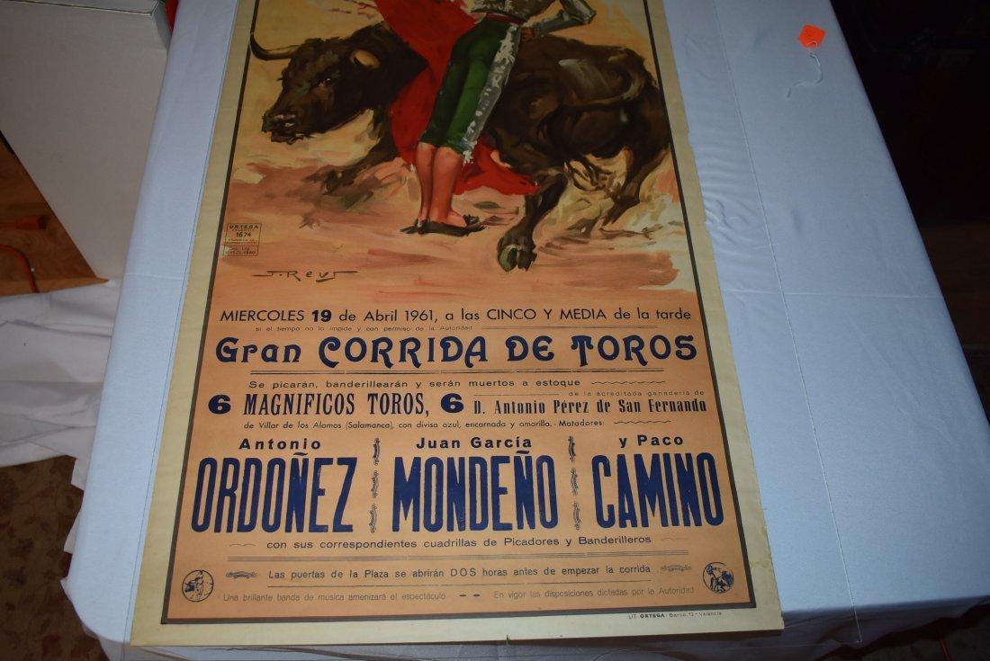 Original 1961 Plaza De Toros Bull Fighting Poster - 2