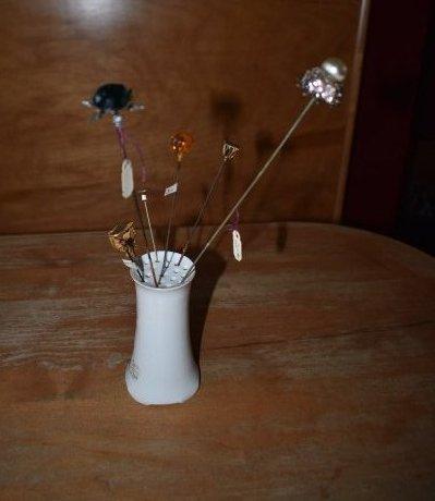 Vintage Porcelain Hat Pin Holder w 7 Pins - 2