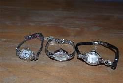 Lot of 3 14K Gold & Diamond Watches