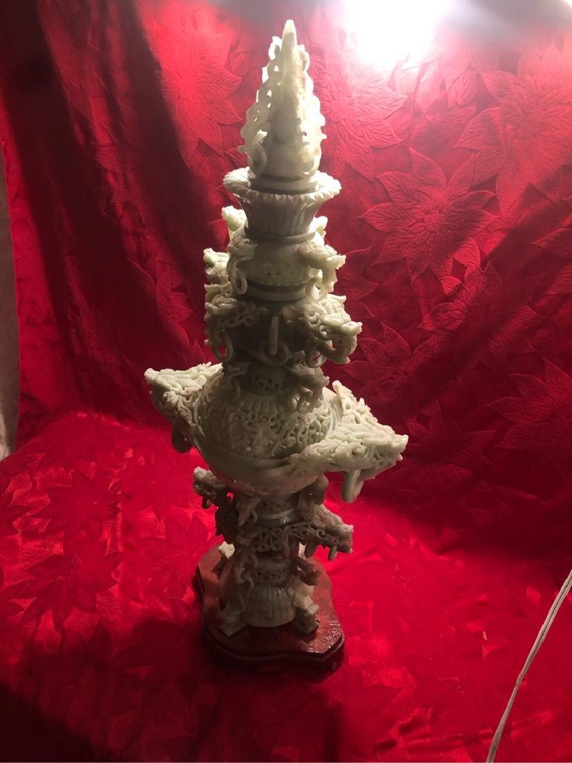 Huge Jade Ornimental Vase on Stand Sculpture