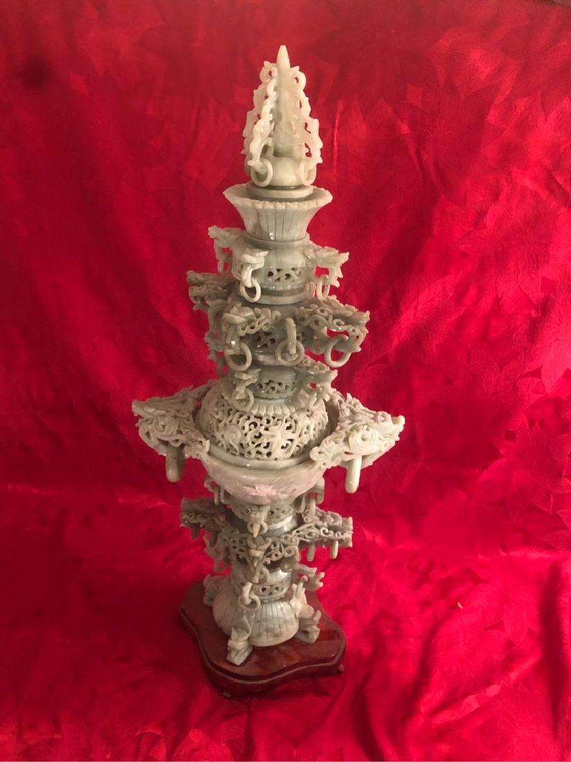 Huge Jade Ornimental Vase on Stand Sculpture - 2