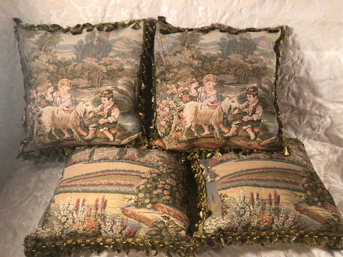 Four French Pattern Pillows Tassels