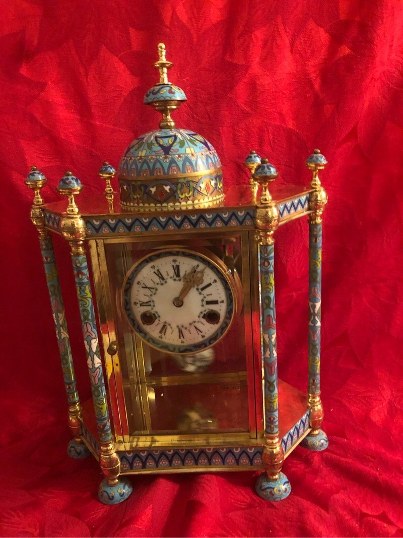 Vintage Beautiful Chinese Cloissone Clock