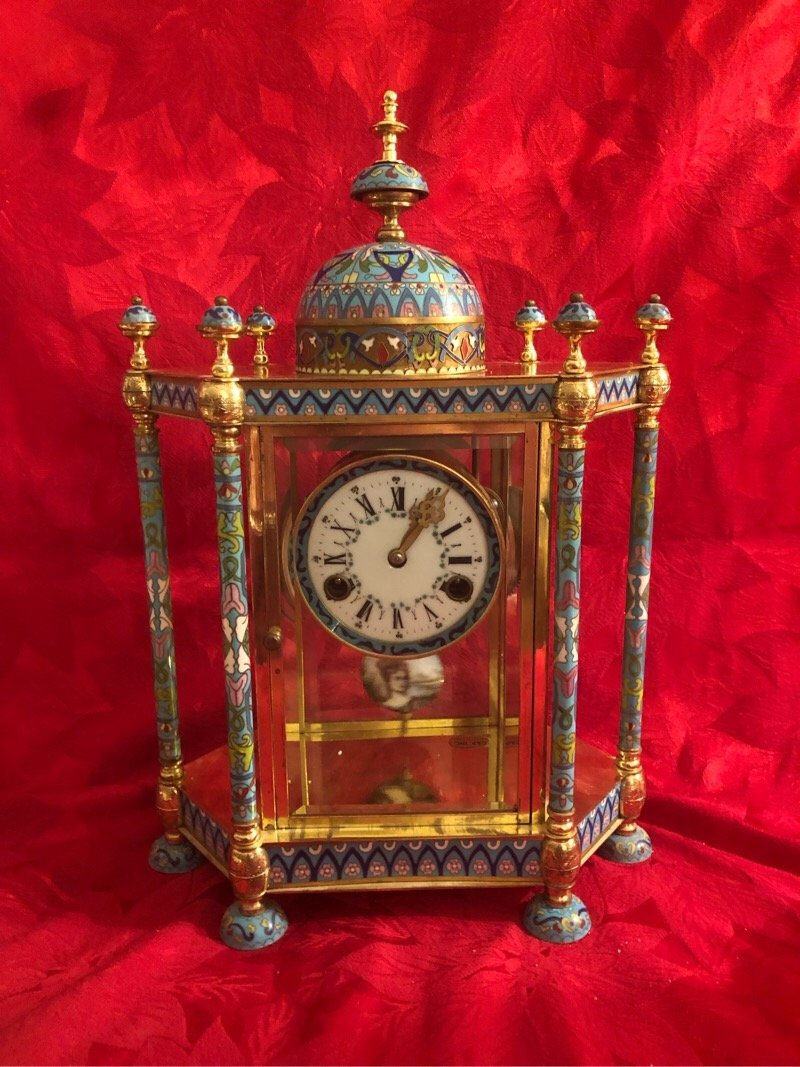 Vintage Beautiful Chinese Cloissone Clock - 3