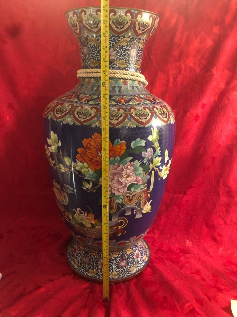 Huge Cloisonne Enamel Vase Beautiful
