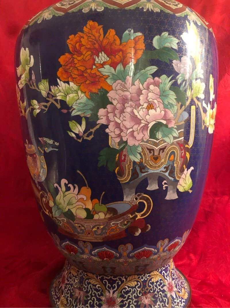 Huge Cloisonne Enamel Vase Beautiful - 2