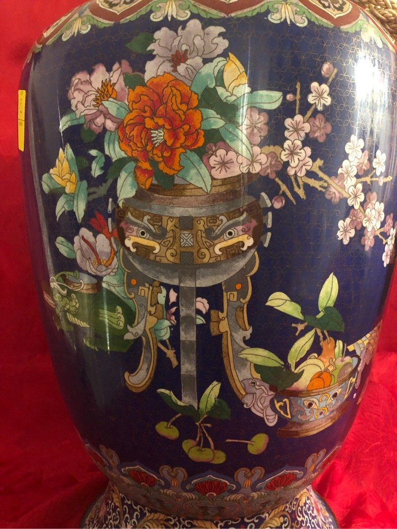 Huge Cloisonne Enamel Vase Beautiful - 5