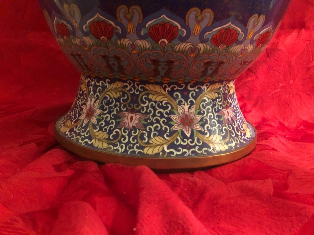 Huge Cloisonne Enamel Vase Beautiful - 6