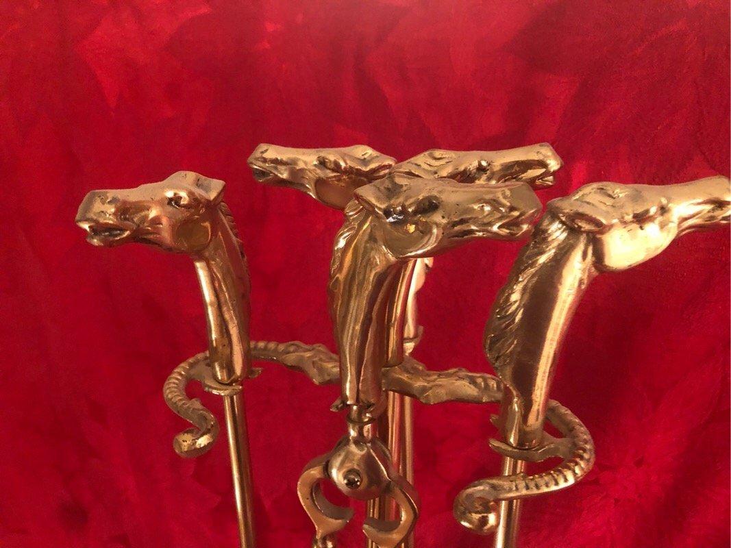 Brass Horse Head Fireplace Tools - 2