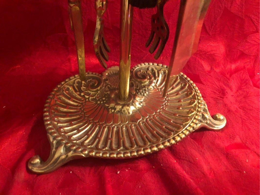 Brass Horse Head Fireplace Tools - 3