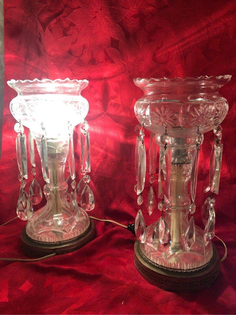 Crystal Luster Lamps Pair - 3