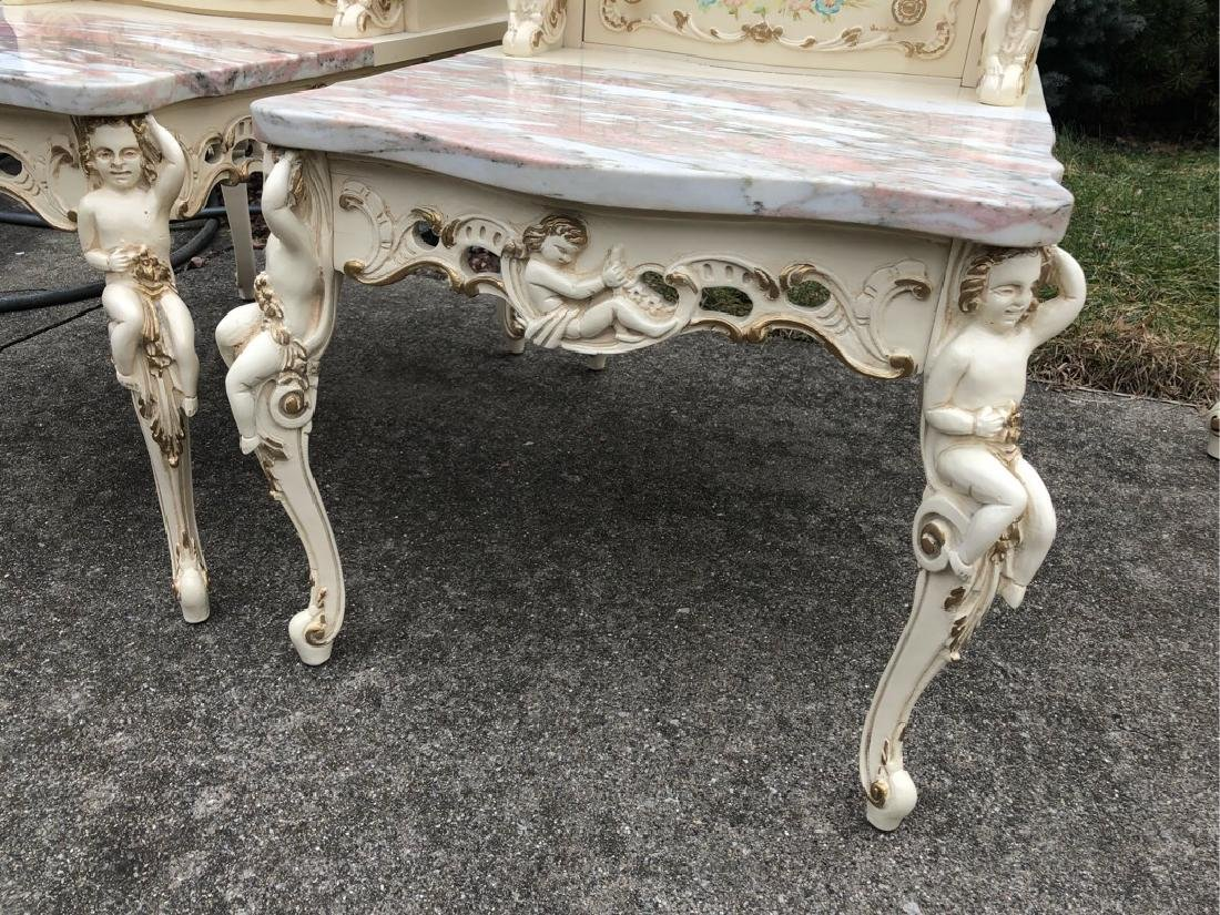 French Marble Step End Tables Cherubs - 2