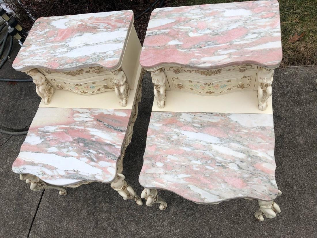 French Marble Step End Tables Cherubs - 5
