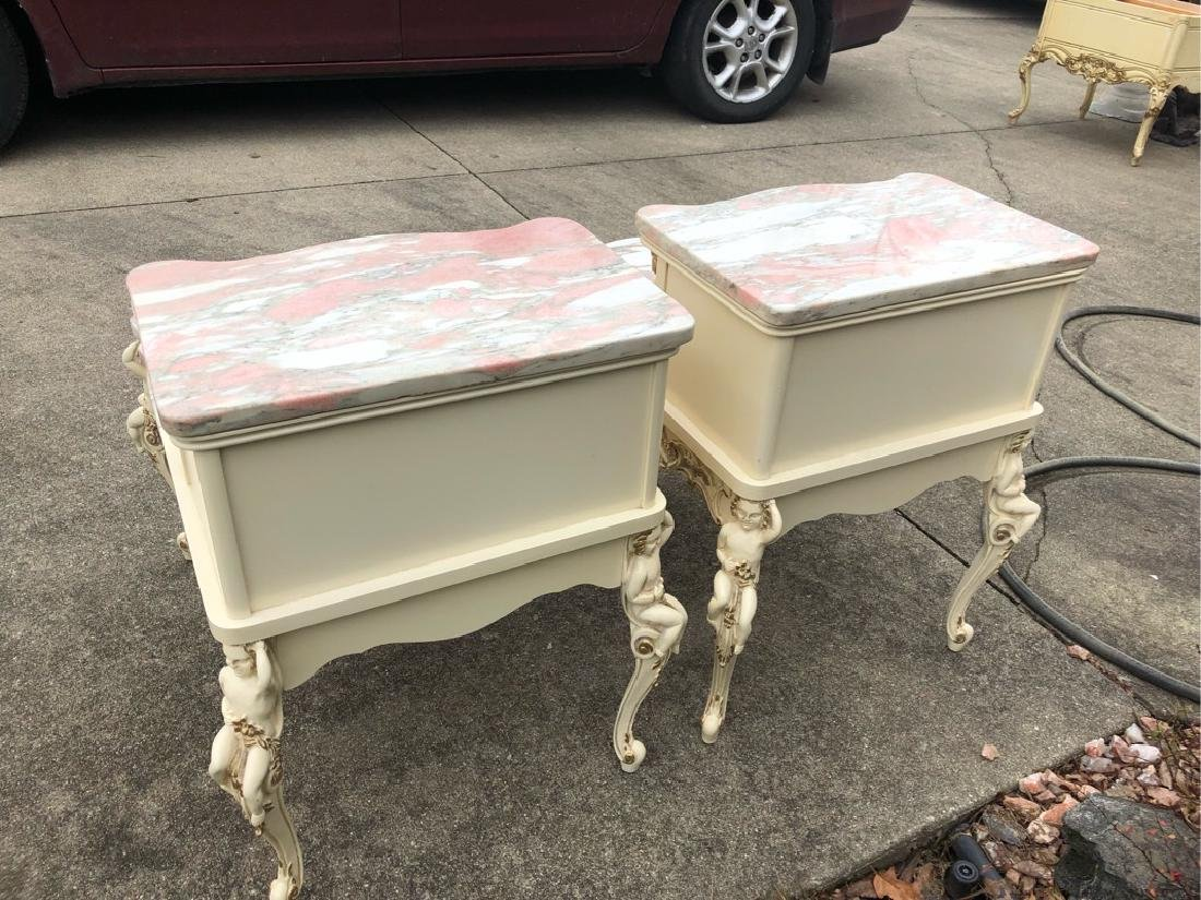 French Marble Step End Tables Cherubs - 6