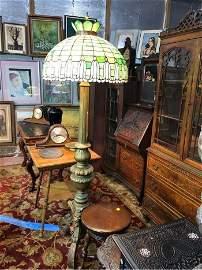 1800's Stain Glass 6ft Floor Lamp RARE ANTIQUE