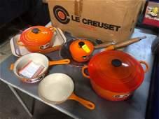 Never Used VTG Le Creuset Set NIB Pots Pans Orange