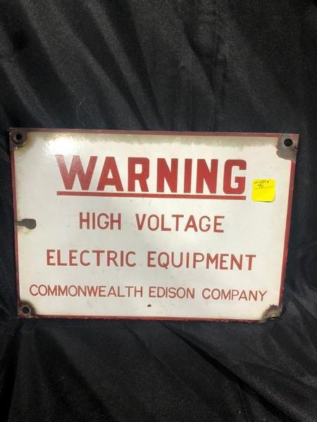 Vintage Enamel Commonwealth Edison Warning Sign