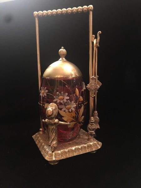 Victorian Cranberry Glass Pickle Castor Jar & Stand