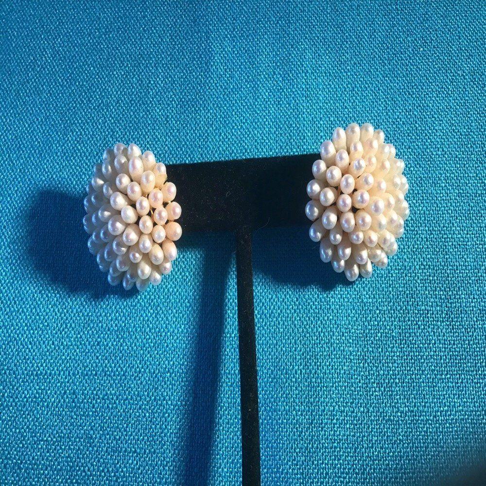 """1"""" diamter freshwater pearl bouquet earrings 14K gold"""