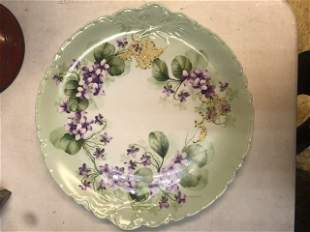 Large Hand Painted Limoges Plate Lilac
