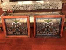 Pair antique leaded stained glass windows with jewels