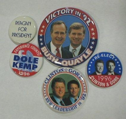 1: 5 Political Buttons: 1992-1996