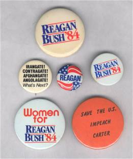 6 Political Pins: Reagan, including 1 Anti
