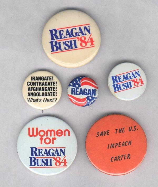 1A: 6 Political Pins: Reagan, including 1 Anti