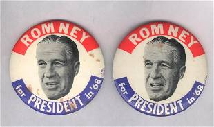 2 Large Political Pins: Romney for President